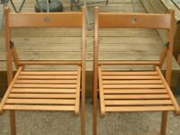 Ikea Terje. Folding chairs x 2 in Beech wood. Ideal for garden or dinning room.