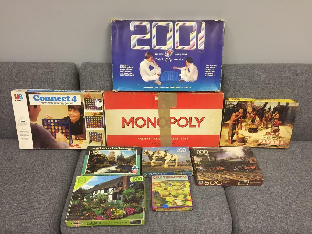 Bundle Joblot of vintage retro games board games Jigsaw puzzles monopoly connect 4 Rare items