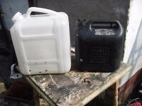 TWO PLASTIC CONTAINERS IDEAL FOR PETROL ETC ONE IS 10litres THE OTHER IS APPOX 20