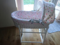 Joules Moses basket mad hatters tea party crib with quilt set