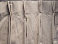 Pair Cream Quality Lined Curtains - Double Pinch Pleat