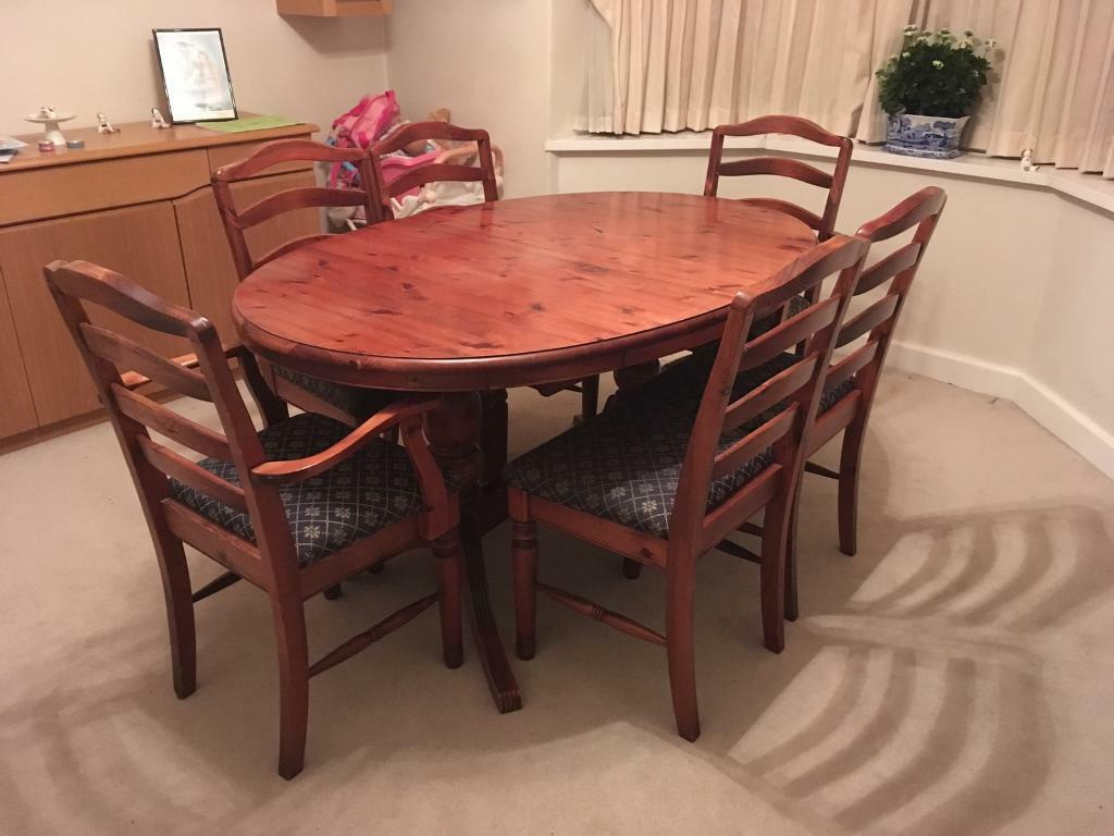 Ducal Pine Hampshire Dining Table and Six Chairs | in ...