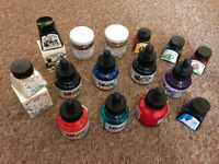 BUNDLE of Acryic Inks, most of them full, and Bronze and Gold Pigments NEW