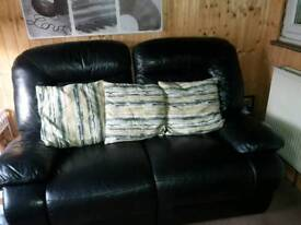 Two seater recliner sofa black