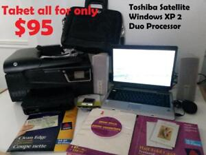 15.5 in Toshiba Satellite Laptop Windows XP 2 Duo Processor Sound Blaster Pro sound card For $75 all you see in picture