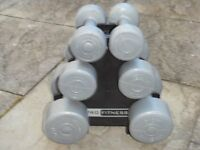 Three sets of dumbbells for sale