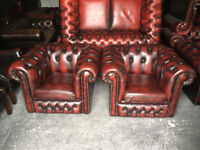 Pair of oxblood leather Chesterfield club chairs...