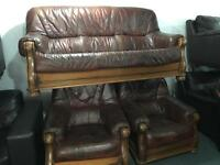 Brown leather 3 11 sofa set