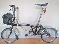 Custom Built Brompton Folding Bike with Ortlieb Bag & Accessories
