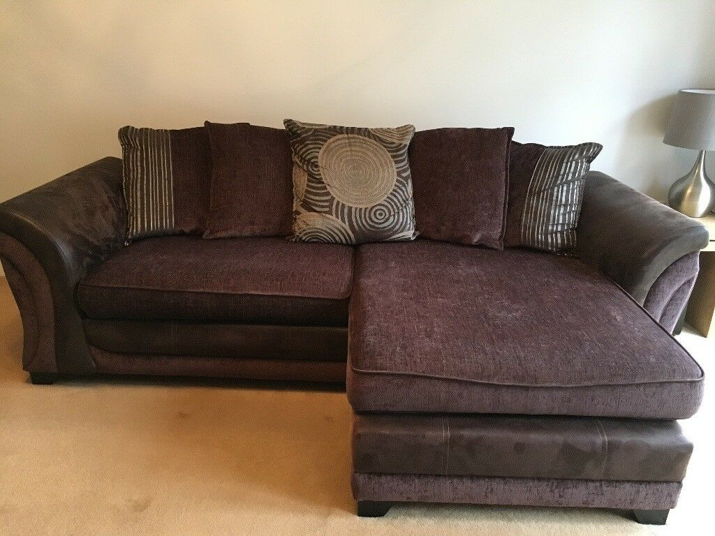 Superb 4 Seater Lounger Sofa 2 Footstool Brown Great Condition Must See