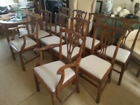 10 Mahogany Chippendale Dining Table Chairs