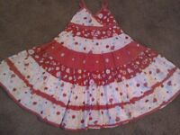 Girls red flower & apple print design dress 4yrs £3
