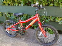 Boys bike MX16 Ridgeback, age 4-7, red, with stabilisers