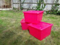 Vessla Storage Boxes Ikea x 3 Pink