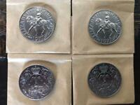 Collection of 4 1977 Silver Jubilee 25p Coins - uncirculated collectors condition