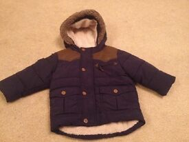 Boys next coat with fur hood 9-12 months