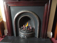Cast and chrome fire insert and artificial coal fire (gas)