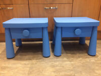 IKEA children's bedside table in blue Mammut range two available