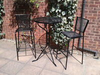 Metal High Garden Patio Bistro Set Round Table 2 Chairs / stools FREE LOCAL DELIVERY