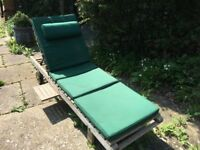 Solid Teak Sun Lounger with Cushions