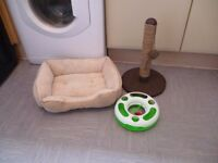 Cat bundle comfy cat bed cat scratch post and cat toy