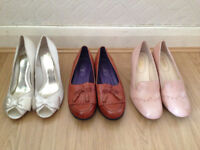 3 Beautiful pairs of size 8 flat and high heeled shoes by Hotter and Debut