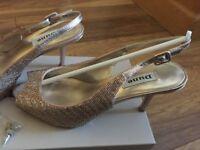 Dune Women's Metallic Didian D Beaded Mid Heel Slingback Sandals- Excellent condition