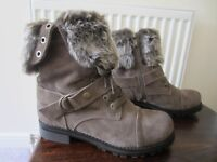 Brown Fur Boots for Winter