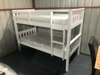 New white r grey single wooden bunk beds free delivery