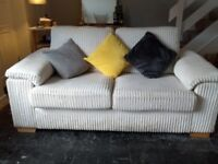 Comfy cream chenille sofa , chair and storage foot stool.