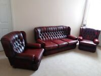 Oxblood Red Chesterfield 3 seater sofa & 2 Arm chairs - some damage - delivery available