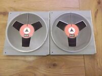 "Two BASF DP26 2400ft reel-to-reel tapes on 7"" plastic spools with plastic library cases"