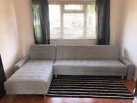 Large Grey Sofa Bed with Reversible Lounger