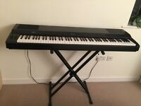 Yamaha P-150 electric stage piano keyboard with a stand