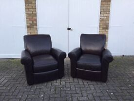 Two leather reclining Armchairs