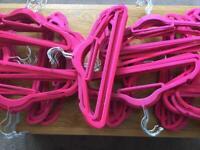 Coat hangers - pink flock velvet - 150-200 available