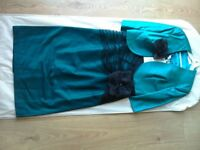 Condici silk dress and jacket in Turquoise and black lace overlay.