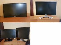 """Spare or repair"" 4 x monitors excellent condition, Dells + LG led, No power cables"