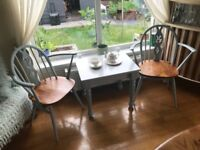 Pair of ercol carver dining chairs and coffee table