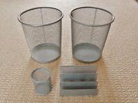 2 Metal Mesh Waste Paper Bins / Baskets 1 Letter Rack / Holder & 1 Pen Holder Desk Tidy Home Office