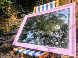 Large Vinyage Flamingo Pink Bevelled Mirror