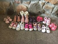 12 Pairs of Toddler Girls Shoes inc 3 pairs of converse Good Condition