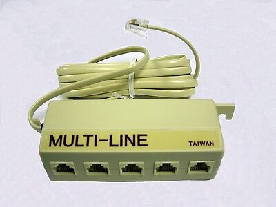 Telephone Junction Box 7m1-110 Multi Line With 5 Rj-14 Jacks Cei Ivory 2 Pcs