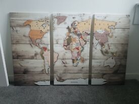 World Map Canvas Trio