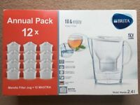 ( New ) BRITA Marella Cool Water Filter Jug and 12 Cartridges Annual Pack -White