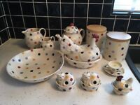 Emma Bridgewater Polkadot pottery incl rare cat egg coddlers, vintage storage jars, & other pieces.