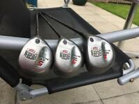 Ben Sayers Big Ben Driver 1, 3 & 5 Wood Woods Set With Graphite Shafts. Good Condition