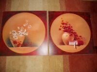 """2 x Large Wood Box Frame Pictures 27""""x 27"""""""