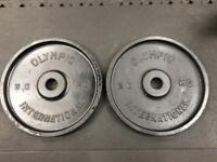 2x20kg Olympic International Weight Plates - Cast Iron - 40kg Total