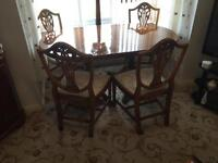 Mahogany table and chairs (plus extension)